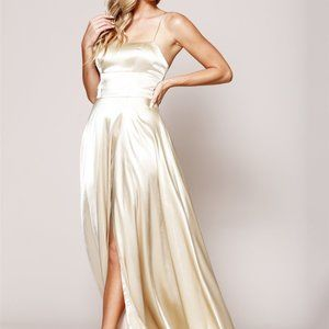 Straight Neck A-Line Shape Satin Prom Dress AC472